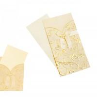 Луксозна картичка за юбилей/сватба, златиста, 21*11см