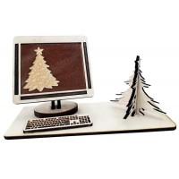Корпоративен подарък с шоколадова визитка в компютър, от дърво
