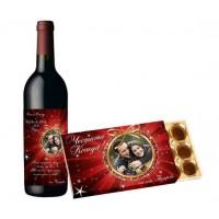 Коледен сет с вино и бонбони с етикет
