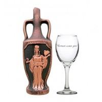 """Комплект """"Честит Имен Ден"""" с бутилка вино и чаша"""