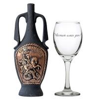 """Сет бутилка """"Св. Георги"""" с вино + гравирана чаша"""