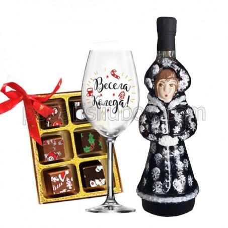 Комплект с вино Снежанка, чаша и бонбони с коледни мотиви