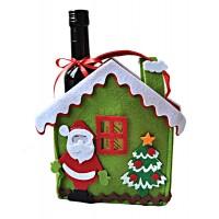 Коледна торбичка с малко вино и бонбони