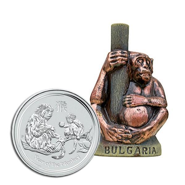 """Комплект """"2016 Годината на Маймуната"""" със сребърна монета и бутилка вино"""