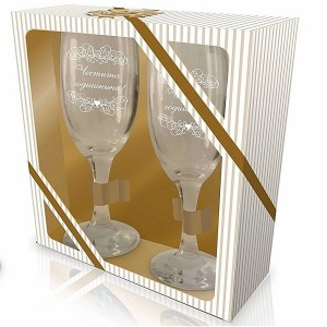 Комплект чаши Честита годишнина,  в подаръчна кутия