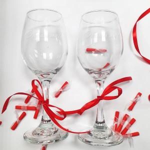 """Комплект """"Свети Валентин"""" в кутия с късмети, гравирани чаши и колела на обещанията"""