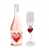 Комплект вино Терра Тангра розе, с етикет + чаша