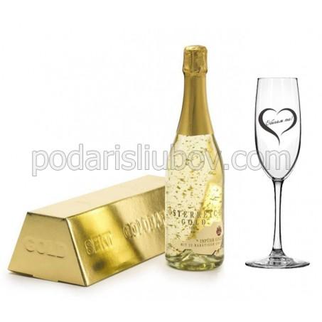 Комплект златно шампанско и гравирана чаша