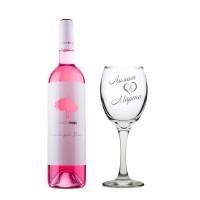 Комплект розово вино Шардоне Pasion и гравирана чаша с имена