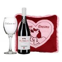 """Сет """"Be my Valentine"""" с вино, плюшена възглавница и чаша Обичам те!"""