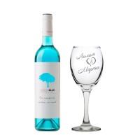 Комплект синьо вино Шардоне Pasion и гравирана чаша с имена