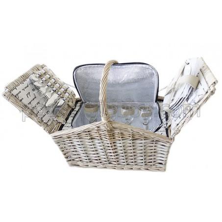 Бяла кошница за пикник за четирима