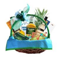 Корпоративна кошница с 4 вида алкохол, сьомга, сирена, плодове и бонбони