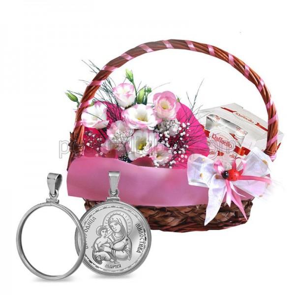 "Кошница ""Розова хармония"" + Медальон от сребро Богородица"