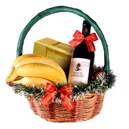 Кошница с вино, банани и бонбони Трюфели