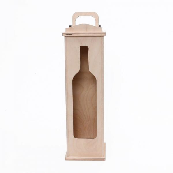 Дървена кутия за вино с прозорче