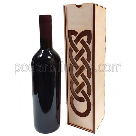 Дървена кутия за вино с келтски мотиви