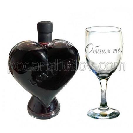 Гравирана чаша Обичам те! и бутилка Сърце с вино