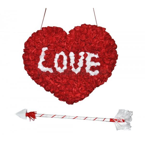 Любовна пинята СЪРЦЕ с рози за  любимата жена + стрелата на Купидон
