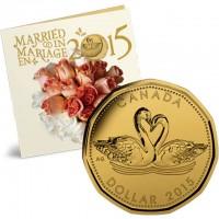 """Подаръчен комплект 5 монети за """"Сватба 2015"""""""