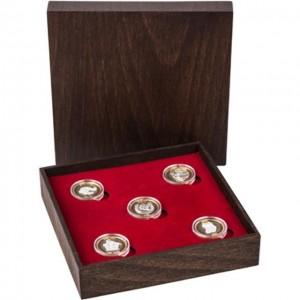 """Колекция """"Сребърни парички за късмет """" 5 бр, с частично златно покритие"""