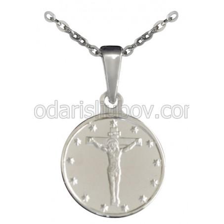 """Сребърен медальон """"Иисус Христос на кръста"""""""
