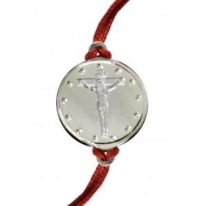 """Сребърна гривна """"Иисус Христос на кръста"""""""