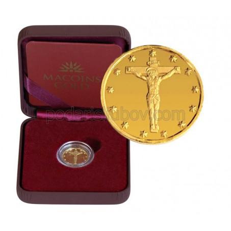 """Позлатен медал """"Исус Христос"""", 3 гр., 1.6 см"""