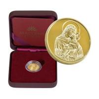"""Позлатен медал """"Св.Богородица с младенеца"""", 3 гр., 1.6 см"""