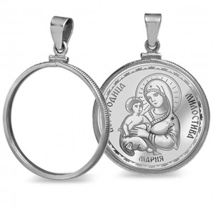 """Сребърен медальон """"Св. Богородица, Умиление"""""""