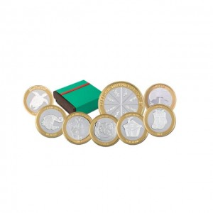 """Колекция """"Сребърни парички за късмет """" 7 бр, с частично златно покритие"""
