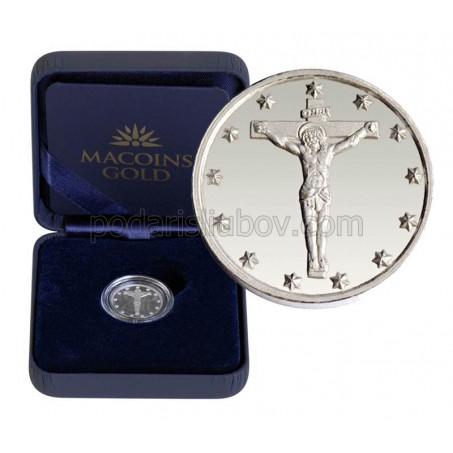 """Сребърен медал """"Исус Христос на кръста"""", 3 гр., 1.6см"""