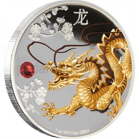 """Сребърна монета Фън Шуй  """"Пазител на дома, мъдростта и богатството, Дракон"""""""
