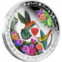 """Сребърна монета """"Любовта е безценна, Колибри"""", кутия сърце"""