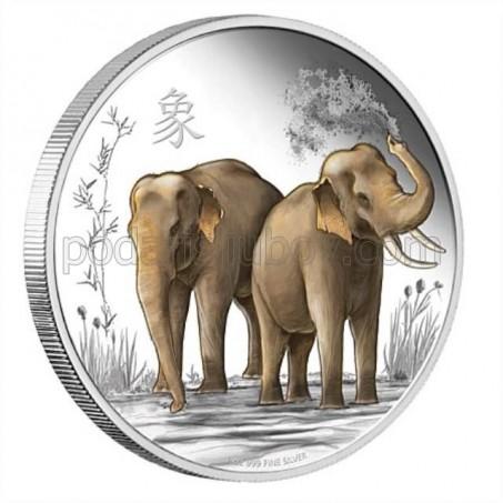 """Сребърна монета """"Щастие, сила и късмет, Слончета"""""""