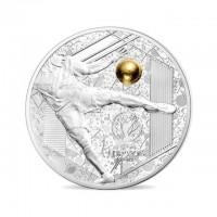 """Сребърна монета """"Велики спортни събития – Уефа 2016- Силен удар"""", с частично златно покритие"""
