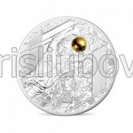 """Сребърна монета Велики спортни събития – УЕФА 2016- Умело спасяване"""", с частично златно покритие"""