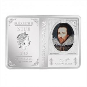 """Сребърна монета """"Великите творци – Уилям Шекспир"""""""