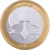 """Сребърна паричка за късмет """"Любов"""", с частично златно покритие"""