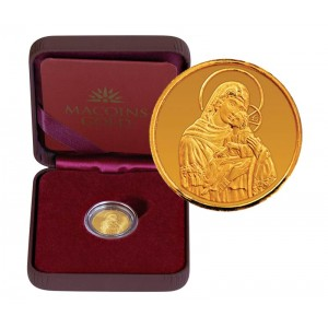"""Златен медал """"Света Богородица с младенеца"""", 2.25 гр., 1.6 см"""