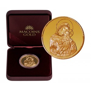 """Златен медал """"Света Богородица с младенеца"""", 8.55 гр., 3 см"""