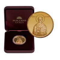 """Златен медал """"Свети Николай Чудотворец"""", 8.55 гр., 3 см"""
