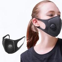 Антипрахова маска с клапа за многократна употреба, черен цвят