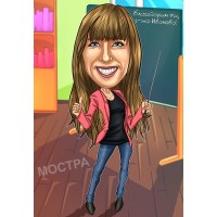 Дигитална карикатура Учител №1, 1 лице, размер А3