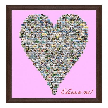 Колаж Издължено сърце с Ваши снимки, различни размери