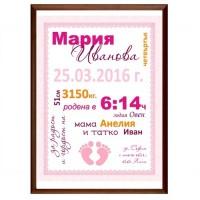 Колаж за новородено момиче с име, дата и час на раждане!