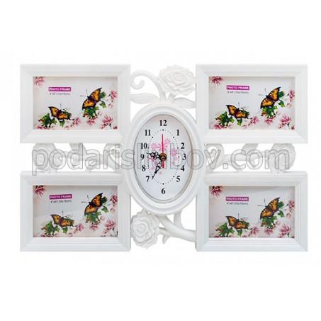Часовник в рамка - колаж за 4 бр. снимки, бял цвят