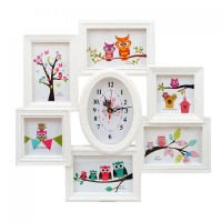 Часовник в рамка - колаж за 6 бр. снимки