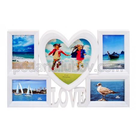 Рамка - колаж за 5 бр. снимки LOVE