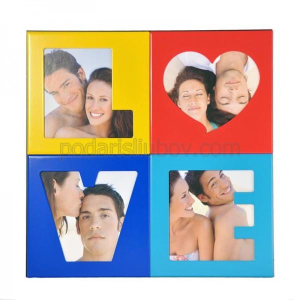 Рамка - магнит за 4 снимки LOVE, 17*17см